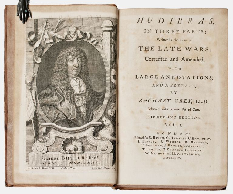 Hudibras, in three parts; written in the time of the late wars: corrected and amended. With large annotations, and a preface, by Zachary Grey LL.D. Adorn'd with a new set of cuts. Samuel BUTLER, William Hogarth, d.1680 bap.1613, illustrates.