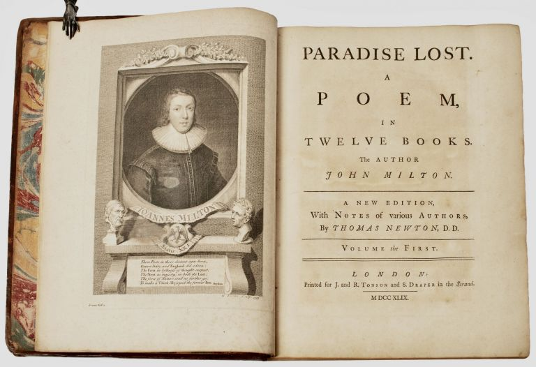 Paradise Lost. A Poem, in Twelve Books. The author John Milton. The Fifth Edition, With Notes of various Authors, By Thomas Newton, D. D. [Joseph Gulston's copy]. John MILTON.