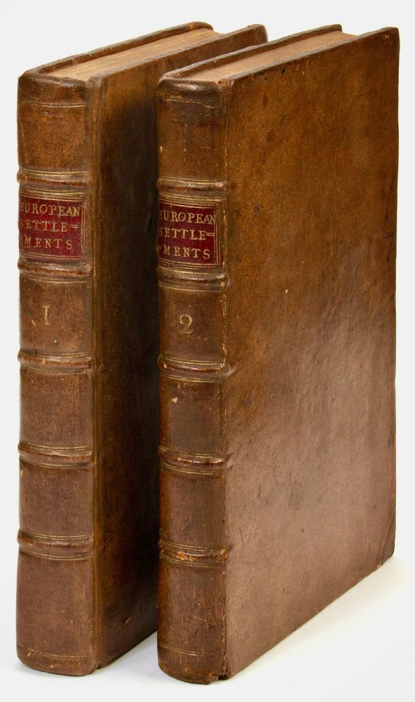 An account of the European settlements in America. In six parts. I. A short History of the Discovery of that Part of the World. II. The Manners and Customs of the original Inhabitants. III. Of the Spanish Settlements. IV. Of the Portuguese. V. Of the French, Dutch, and Danish. VI. Of the English. Each Part contains An accurate Description of the Settlements in it, their Extent, Climate, Productions, Trade, Genius and Disposition of their Inhabitants: the Interests of the several Powers of Europe with respect to those Settlements; and their Political and Commercial Views with regard to each other. In two volumes. Edmund BURKE.