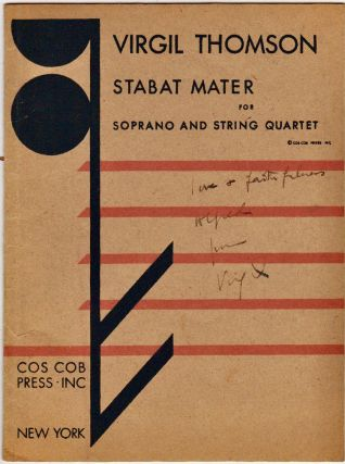 Musical Score] Stabat Mater : for Soprano and String Quartet [Inscribed to Alfred Barr). Virgil...