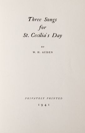 Three Songs for St. Cecilia's Day [Flodden W. Heron's copy]